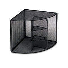 Rolodex - mesh corner desktop shelf, five sections, 20 x 14 x 13, black, sold as 1 ea