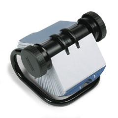 Rolodex - open rotary business card file w/24 guides, black, sold as 1 ea
