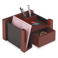 Rolodex 81767 Desk Director, Wood, 7 1/8 X 6 3/4 X 4 1/8, Black/Mahogany
