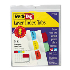 Redi-Tag 33120 Laser Printable Index Tabs, 1 1/8 Inch, Five Colors, 100/Pack