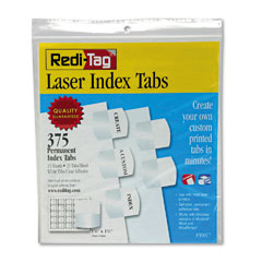Redi-Tag 39017 Laser Printable Index Tabs, 1 1/8 X 1 1/4, White, 375/Pack