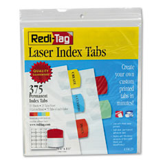 Redi-Tag 39020 Laser Printable Index Tabs, 1 1/8 X 1 1/4, 5 Colors, 375/Pack