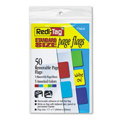 Redi-Tag 76820 Removable Page Flags, Red/Blue/Green/Yellow/Purple, 10/Color, 50/Pack