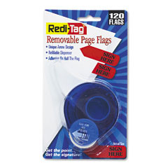 "Redi-Tag 81024 Arrow Message Page Flags In Dispenser, ""Sign Here"", Red, 120 Flags/ Dispenser"