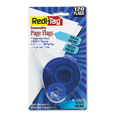 Redi-tag - arrow message page flags in dispenser, -inchsign here-inch, blue, 120 flags/dispenser, sold as 1 pk