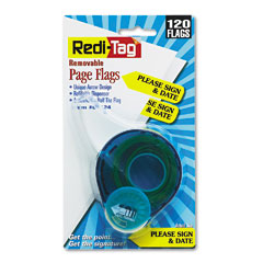 """Redi-Tag 81124 Arrow Page Flags In Dispenser, """"Please Sign And Date"""", Yellow, 120 Flags"""