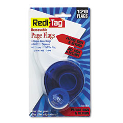 Redi-tag - arrow page flags in dispenser, -inchplease sign and return-inch, red, 120 flags, sold as 1 pk