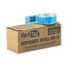 Redi-tag - message right arrow flag refills, -inchsign here-inch, blue, 6 rolls of 120 flags, sold as 1 bx