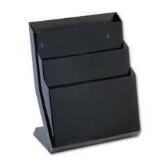 Rubbermaid 16633 Three-Pocket Desktop Stand, Plastic, 13 1/4 X 7 1/8 X 16, Smoke