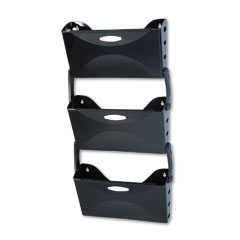 Rubbermaid 18523 Ultra Hot File Three Pocket Wall File Set, Letter, Black