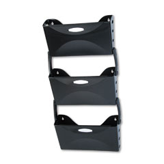 Rubbermaid 18563 Ultra Hot File Three Pocket Wall File Set, Legal, Black