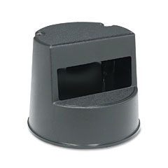 Rubbermaid commercial - rolling step stool, curved design, retracting casters, 16 dia. x 13h, black, sold as 1 ea