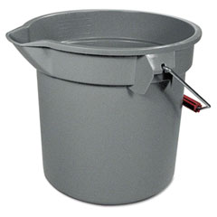Rubbermaid commercial - 14-quart round utility bucket, 12-inch diameter x 11-1/4-inchh, gray plastic, sold as 1 ea
