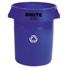 RCP 263273BE Brute Recycling Container, Round, Plastic, 32 Gal, Blue