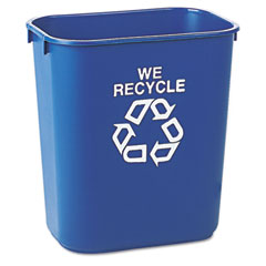 RCP 295573BE Small Deskside Recycling Container, Rectangular, Plastic, 13 5/8 Qt, Blue