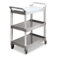 RCP 342488PM Economy Plastic Cart, 3-Shelf, 18-5/8W X 33-5/8D X 37-3/4H, Platinum
