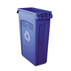 RCP 354007BE Slim Jim Recycling Container W/Venting Channels, Plastic, 23 Gal, Blue