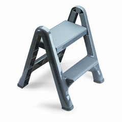 RCP 420903CYLND Two-Step Folding Plastic Step Stool, 300-Lb. Duty Rating, Dark Gray
