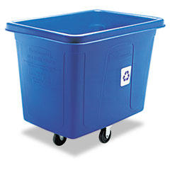 RCP 461673BE Recycling Cube Truck, Rectangular, Polyethylene, 500-Lb Cap, Blue