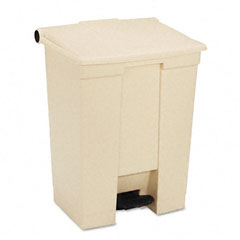 Rubbermaid commercial - fire-safe step-on receptacle, rectangular, polyethylene, 18 gal, beige, sold as 1 ea