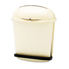 RCP 617700BG Fire-Safe Pedal Rolltop Receptacle, Oval, Plastic, 14.5 Gal, Beige