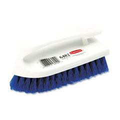 "RCP 6482COB Iron-Shaped Handle Scrub Brush, 6"" Brush, Yellow Plastic Handle/Blue Bristles"