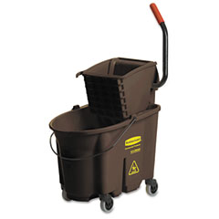 Rubbermaid commercial - wavebrake 35-quart bucket/wringer combinations, brown, sold as 1 ea