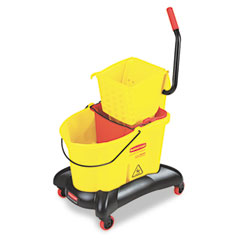 Rubbermaid commercial - wavebrake 35-qt dual water side press mop bucket & wringer, yellow, sold as 1 ea