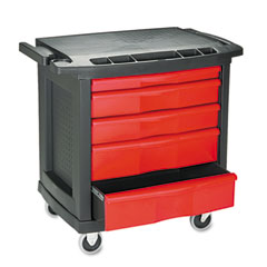 Rubbermaid commercial - five-drawer mobile workcenter, 32-1/2w x 20d x 33-1/2h, black plastic top, sold as 1 ea