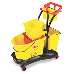 Rubbermaid commercial - wavebrake 35-quart mopping trolley side press, yellow, sold as 1 ea