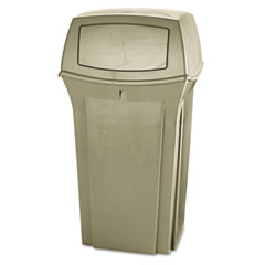 RCP 8430-88BG Ranger Fire-Safe Container, Square, Structural Foam, 35 Gal, Beige