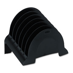 Rubbermaid - plastic incline sorter, three sections, 9 5/8 x 6 1/2 x 7 3/8, black, sold as 1 ea