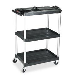 Rubbermaid commercial - media master av cart, 2-shelf, 18-3/4w x 32-3/4d x 42h, black, sold as 1 ea
