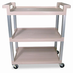 RCP 9T6571BG Service Cart W/Brushed Aluminum Upright, 3-Shelf, 16-1/4W X 31-1/2D X 36H, Beige