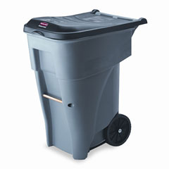 RCP 9W21GY Brute Rollout Heavy-Duty Waste Container, Square, Polyethylene, 65 Gal, Gray