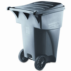Rubbermaid commercial - brute rollout heavy-duty waste container, square, polyethylene, 95 gal, gray, sold as 1 ea
