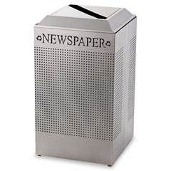 RCP DCR24PSM Silhouette Paper Recycling Receptacle, Square, Steel, 29 Gal, Silver Metallic