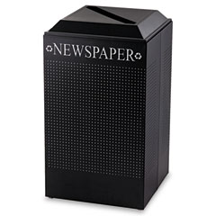 RCP DCR24PTBK Silhouette Paper Recycling Receptacle, Square, Steel, 29 Gal, Textured Black