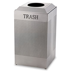 RCP DCR24TSM Silhouette Waste Receptacle, Square, Steel, 29 Gal, Silver Metallic