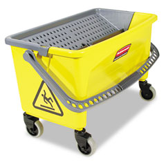 RCP Q90088YW Hygen Press Wring Bucket For Microfiber Flat Mops, Yellow
