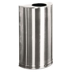 RCP SO12SSS European & Metallic Open Top Receptacle, Half-Round, 12 Gal, Satin Stainless