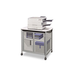 Safco 1859GR Impromptu Deluxe Machine Stand W/Doors, 34-3/4W X 24-1/4D X 30-3/4H, Silver/Gray
