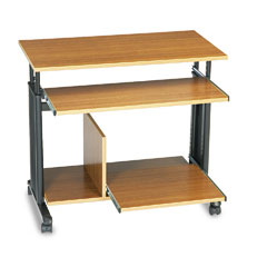 "Safco 1927MO 33"" Wide Adjustable Height Mini-Tower Workstation, 22D X 34H, Oak"