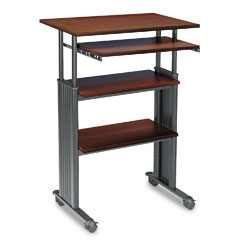 Safco 1929CY Adjustable Height Stand-Up Workstation, 29W X 22D X 49H, Cherry