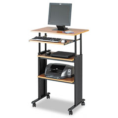 Safco 1929MO Adjustable Height Stand-Up Workstation, 29W X 22D X 49H, Oak
