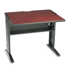 Safco 1930 Computer Desk W/ Reversible Top, 35-1/2W X 28D X 30H, Mahogany/Medium Oak/Black