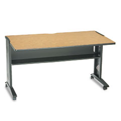 Safco 1933 Mobile Computer Desk W/ Reversible Top, 54 X 28 X 30, Mahogany/Medium Oak/Black