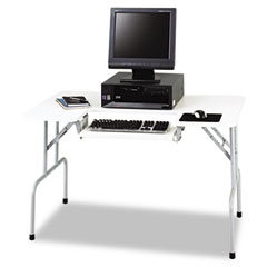 Safco 1935GR Folding Computer Table, Rectangular, 47-1/2W X 29-3/4D X 28-3/4H, Light Gray