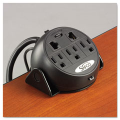 Safco - power module, 3 outlets, 2 rj-45 ports, 8 ft cord, sold as 1 ea