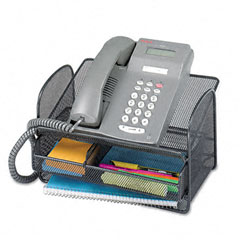 Safco - onyx angled mesh steel telephone stand, 11 3/4 x 9 1/4 x 7, black, sold as 1 ea